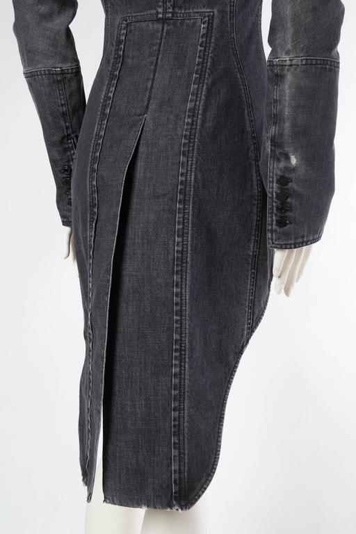 Victorian Style Givenchy Distressed Denim Frock Coat For Sale 4