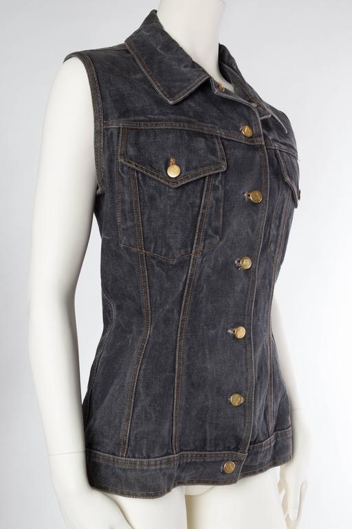 Jean Paul Gaultier Corset Laced Back Denim Jacket Vest In Excellent Condition For Sale In New York, NY