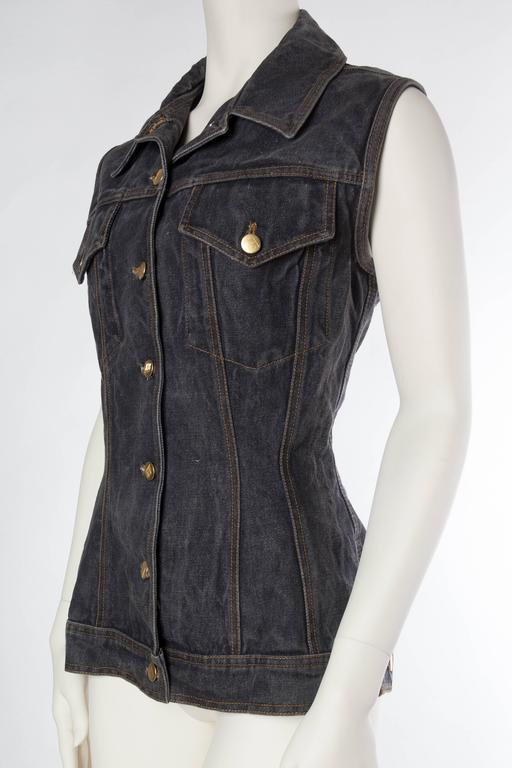 Women's Jean Paul Gaultier Corset Laced Back Denim Jacket Vest For Sale