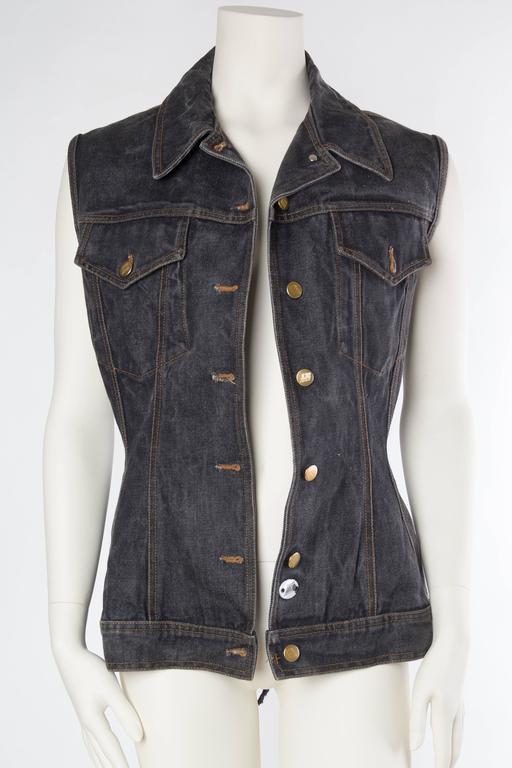 Black Jean Paul Gaultier Corset Laced Back Denim Jacket Vest For Sale