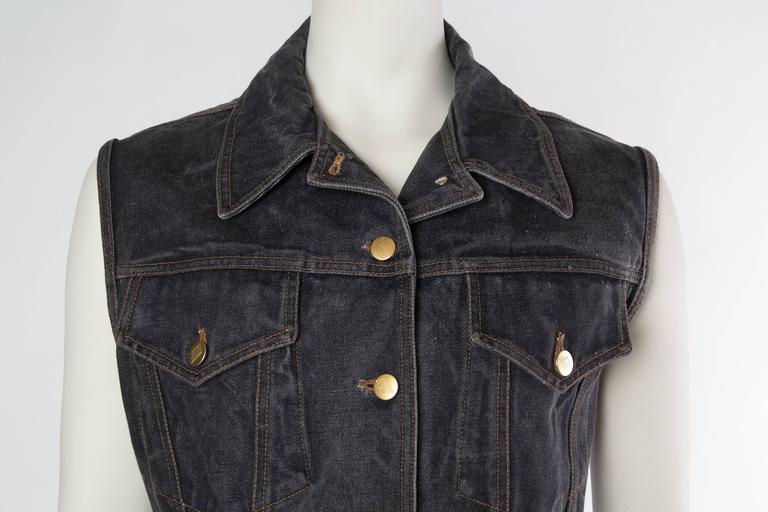 Jean Paul Gaultier Corset Laced Back Denim Jacket Vest 6