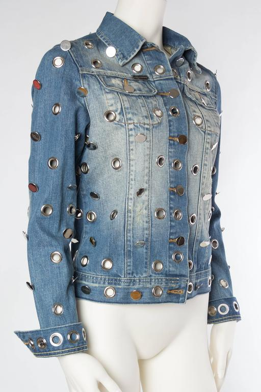 Denim Jacket Covered in Mirrored Buttons and Gromets In Excellent Condition For Sale In New York, NY