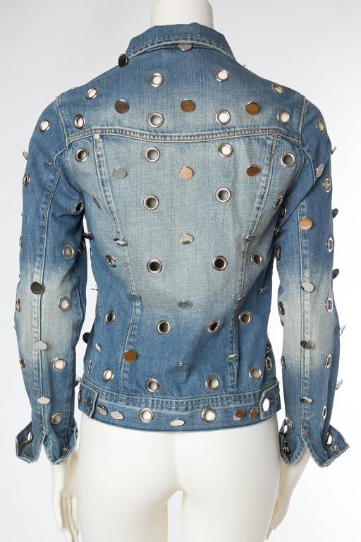 Denim Jacket Covered in Mirrored Buttons and Gromets 5