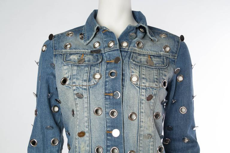 Denim Jacket Covered in Mirrored Buttons and Gromets For Sale 2