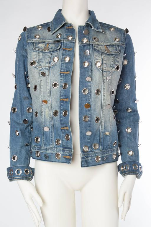 Denim Jacket Covered in Mirrored Buttons and Gromets 2