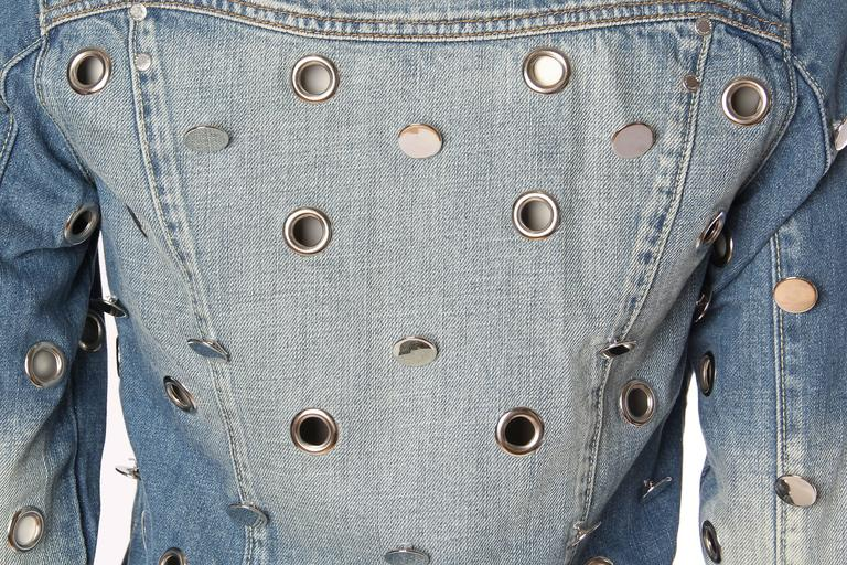 Denim Jacket Covered in Mirrored Buttons and Gromets 9