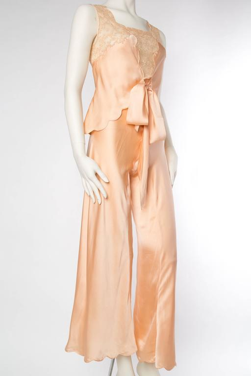 Women's Sensual 1930s Silk Couture Pajamas For Sale