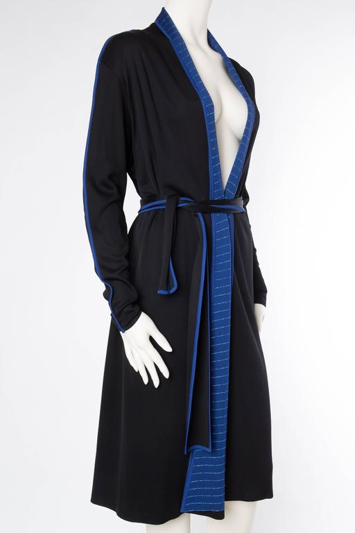 Black 1970s Issey Miyake Jersey Cardigan Dress For Sale