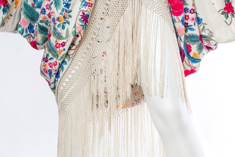 Cocoon Coat made from Antique Hand Embroidered Piano Shawl For Sale 2