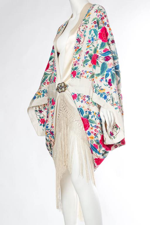 Cocoon Coat made from Antique Hand Embroidered Piano Shawl In Excellent Condition For Sale In New York, NY