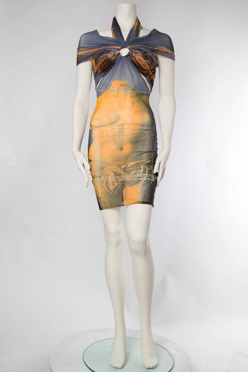 Brown Jean Paul Gaultier Nude Venus Sheer Godess Dress For Sale
