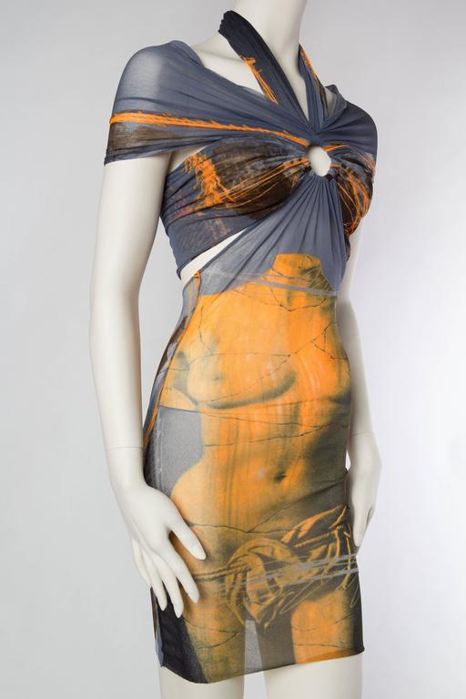 Jean Paul Gaultier Nude Venus Sheer Godess Dress In Excellent Condition For Sale In New York, NY