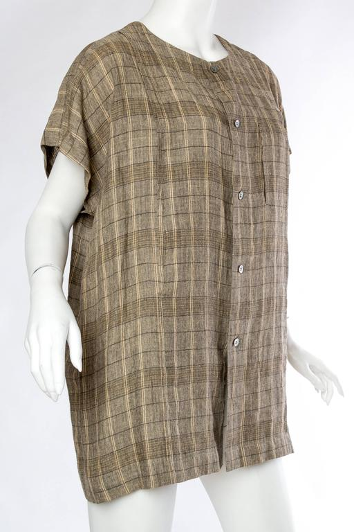 Brown Mens Issey Miyake Linen Shirt For Sale