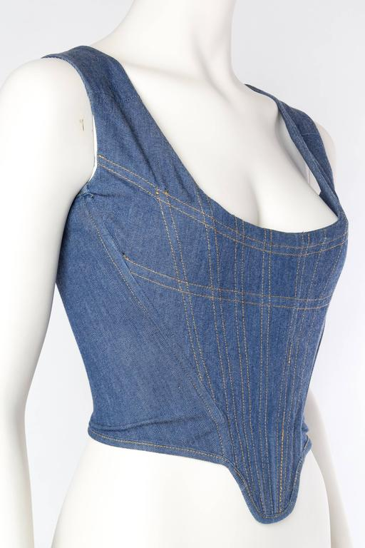 Vivienne Westwood Anglomania Denim Corset In Excellent Condition For Sale In New York, NY