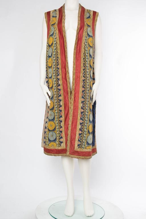 Persian Inspired Victorian Opera Costume Tunic Vest with Gold Metal Trim.