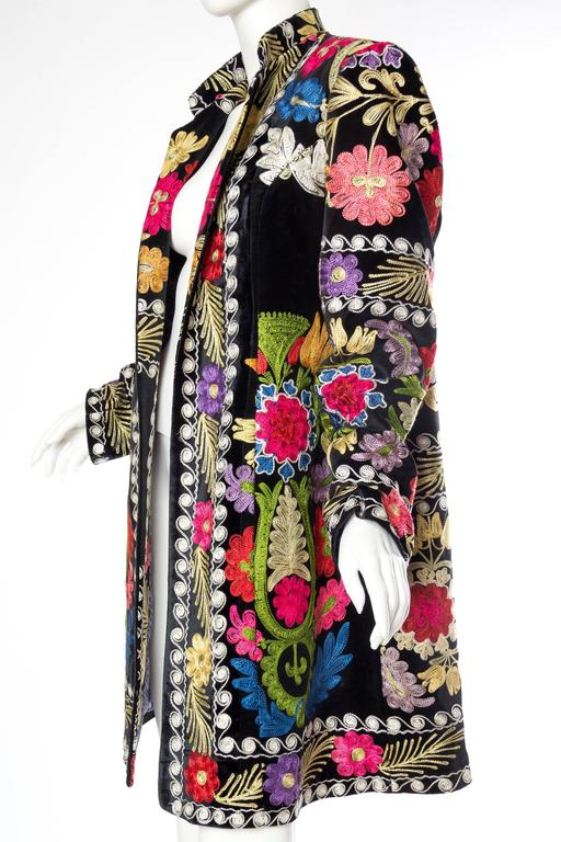 Women's or Men's 1960s Embroidered Velvet BoHo Coat For Sale