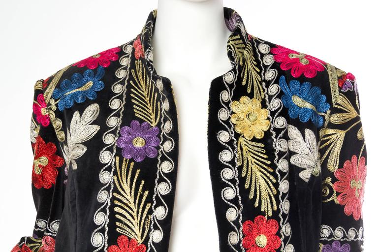 1960s Embroidered Velvet BoHo Coat For Sale 3