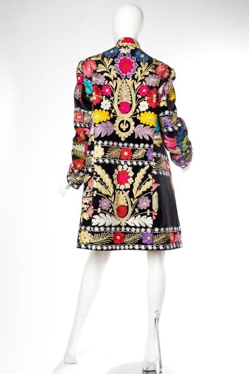 1960s Embroidered Velvet BoHo Coat For Sale 2
