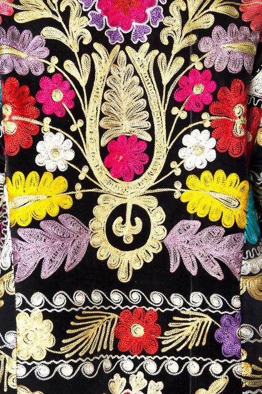 1960s Embroidered Velvet BoHo Coat For Sale 4