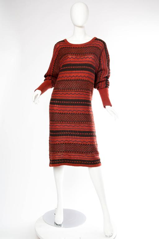Brown Rare Early Issey Miyake 1970s Knit Sweater Dress For Sale