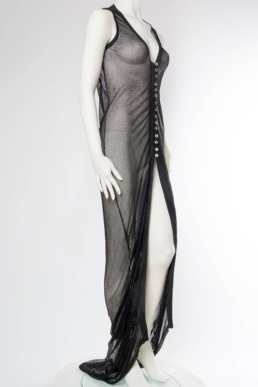 1990s Sheer Net Trained Over Dress. We have a jumpsuit from the same designer sold separately shown here together.