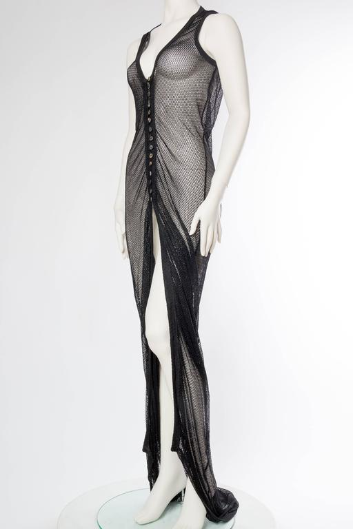 Black 1990s Sheer Net Trained Over Dress For Sale