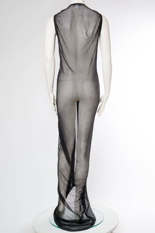 1990s Sheer Net Trained Over Dress In Excellent Condition For Sale In New York, NY