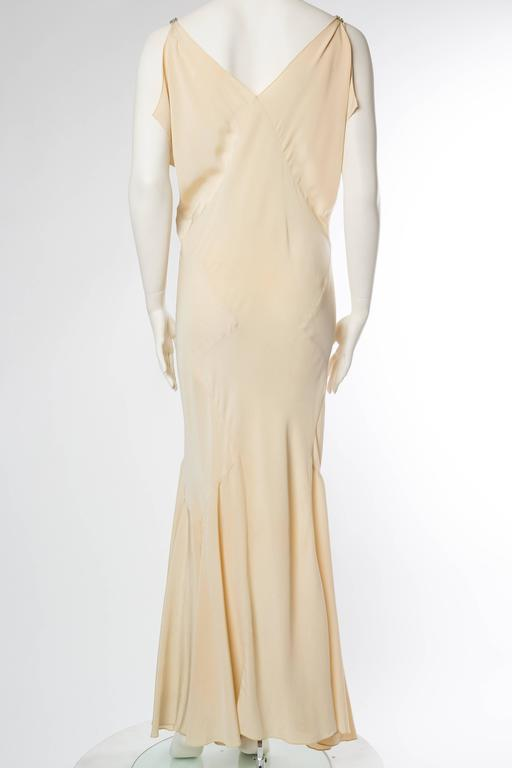 Women's 1930s Bias Silk Art Deco Gown with Crystals For Sale