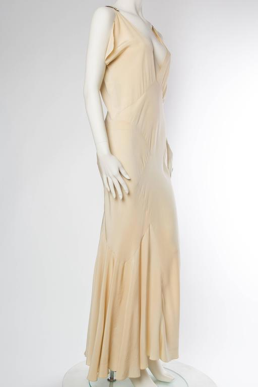 1930s Bias Silk Art Deco Gown with Crystals In Excellent Condition For Sale In New York, NY