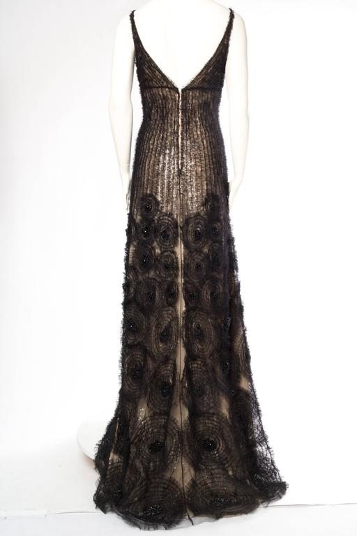 Sheer Illusion Naeem Khan Beaded Tulle Gown with Train In Excellent Condition For Sale In New York, NY
