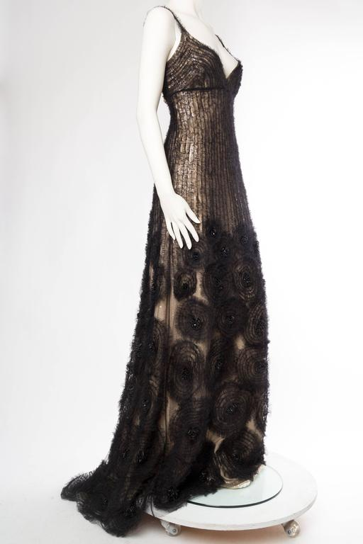 Black Sheer Illusion Naeem Khan Beaded Tulle Gown with Train For Sale