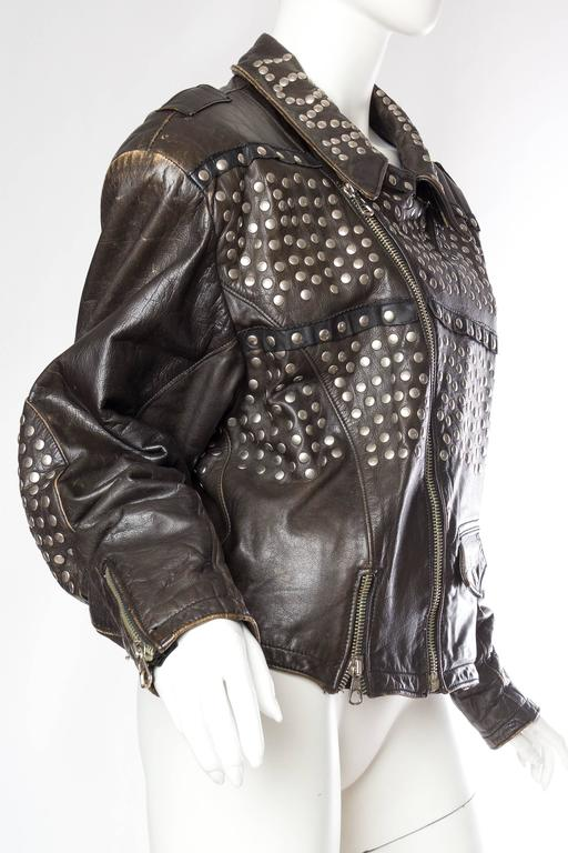 Iconic Jean Paul Gaultier Love Hate Studded Leather Jacket 3