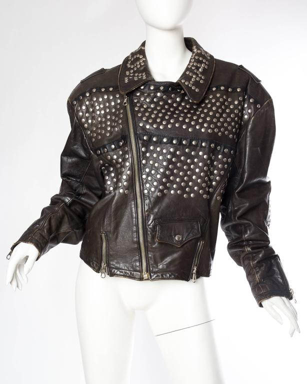 Iconic Jean Paul Gaultier Love Hate Studded Leather Jacket 2