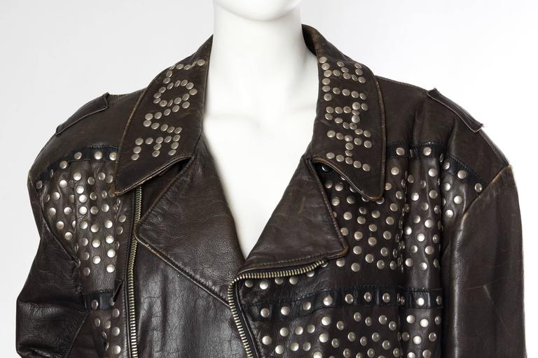 Iconic Jean Paul Gaultier Love Hate Studded Leather Jacket 6