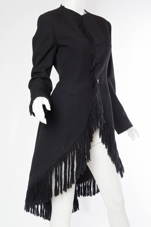 Women's 1980S YOHJI YAMAMOTO Black Wool Twill High-Low Tail Coat With Fringe For Sale