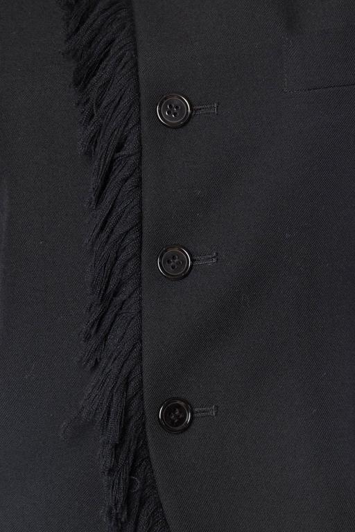 1980S YOHJI YAMAMOTO Black Wool Twill High-Low Tail Coat With Fringe For Sale 6