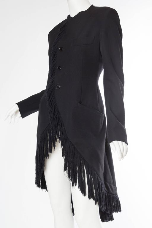 1980S YOHJI YAMAMOTO Black Wool Twill High-Low Tail Coat With Fringe For Sale 1