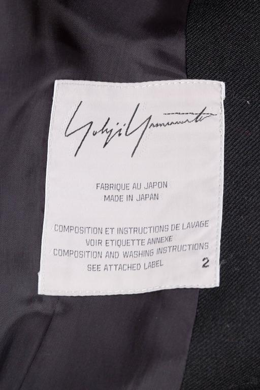 1980S YOHJI YAMAMOTO Black Wool Twill High-Low Tail Coat With Fringe For Sale 7