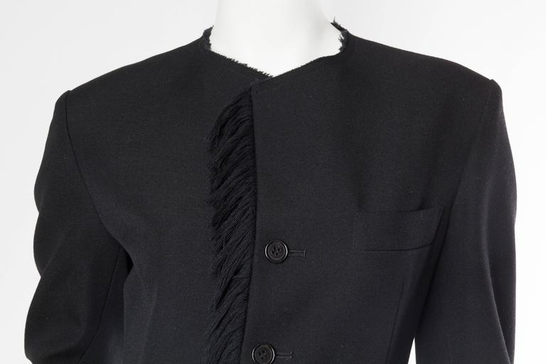 1980S YOHJI YAMAMOTO Black Wool Twill High-Low Tail Coat With Fringe For Sale 3
