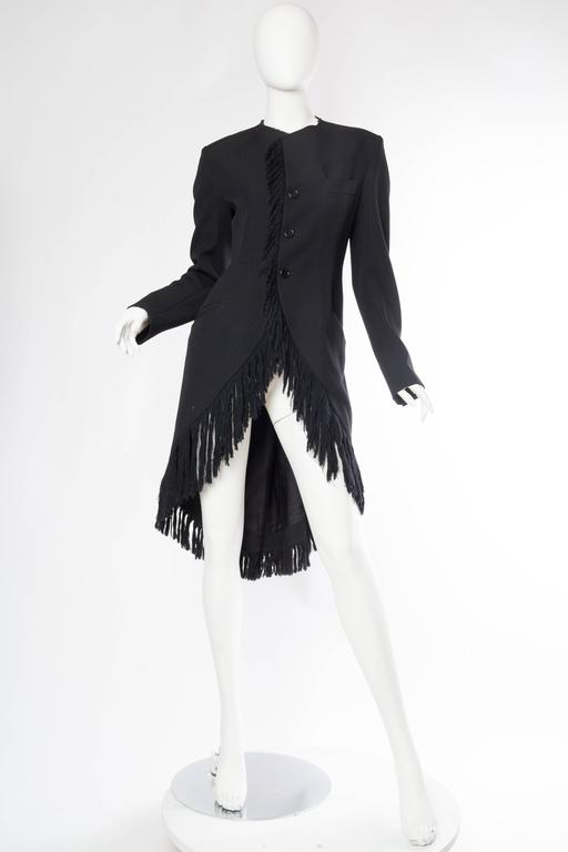1980S YOHJI YAMAMOTO Black Wool Twill High-Low Tail Coat With Fringe In Excellent Condition For Sale In New York, NY