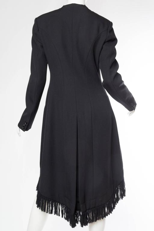 1980S YOHJI YAMAMOTO Black Wool Twill High-Low Tail Coat With Fringe For Sale 2