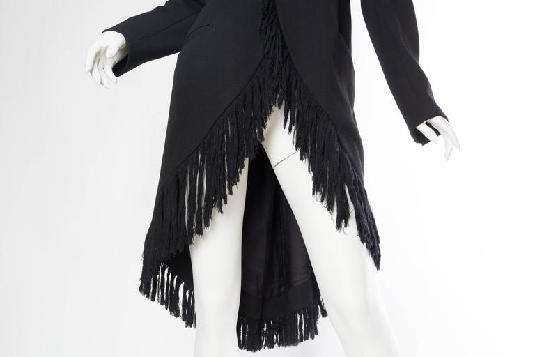 1980S YOHJI YAMAMOTO Black Wool Twill High-Low Tail Coat With Fringe For Sale 4