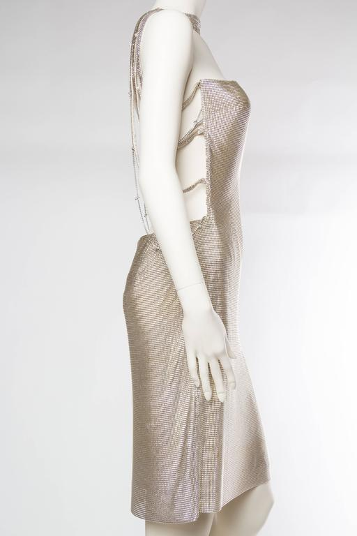Gianni Versace Couture Metal Mesh Backless Dress with Crystals 4