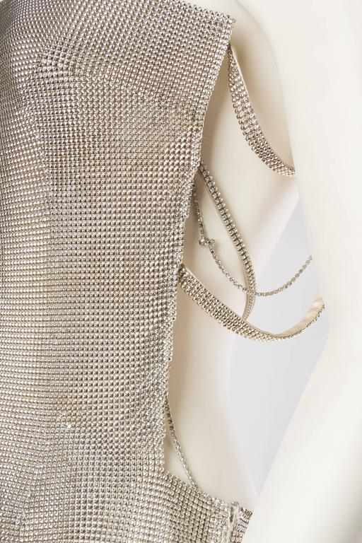 Gianni Versace Couture Metal Mesh Backless Dress with Crystals 8