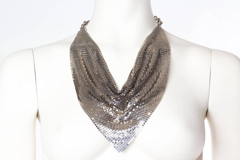 Silver Gianni Versace Metal Mesh Medusa Necklace  For Sale 2