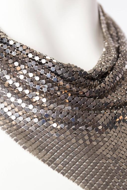 Women's or Men's Silver Gianni Versace Metal Mesh Medusa Necklace  For Sale