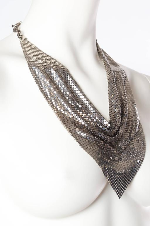 Silver Gianni Versace Metal Mesh Medusa Necklace  For Sale 3