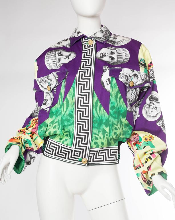 Gray Gianni Versace Ballet Theatre Cinema Bomber Jacket For Sale