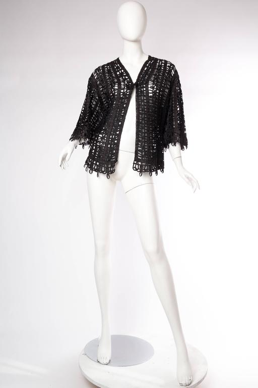 Black Victorian Soutache Braid Lace Jacket For Sale
