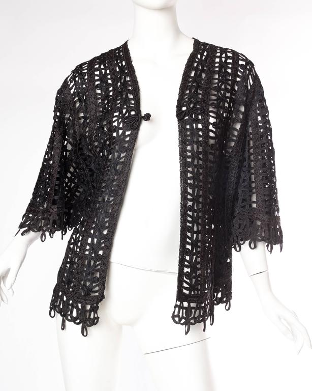 Victorian Soutache Braid Lace Jacket In Excellent Condition For Sale In New York, NY